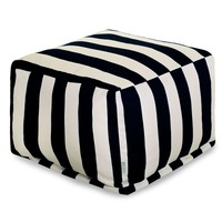Black Vertical Stripe Large Ottoman