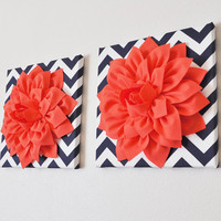 """TWO Wall Flower -Coral Dahlia on Navy and White Chevron 12 x12"""" Canvas Wall Art- Flower Wall Art"""