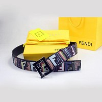 Perfect FENDI Woman Men Fashion Smooth Buckle Belt Leather Belt