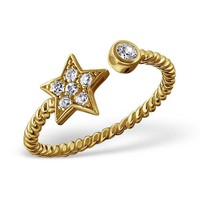Star and Round Adjustable Ring  925 Sterling Silver