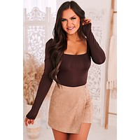 Too Sweet Cut Out Bodysuit (Brown)