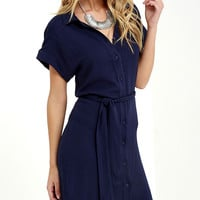 School of Thought Navy Blue Shirt Dress