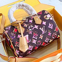 LV New fashion multicolor monogram print leather pillow shape shoulder bag crossbody bag handbag Coffee