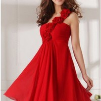 Floral One Shoulder Sweetheart Chiffon Cocktail Dress Red Homecoming Dress