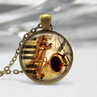 Saxophone Instrumental Glass Pendant,Instrument Jewelry,Music Necklace, Trumpet Charm,Gift For Musician