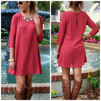 Brick By Brick Solid Shift Dress