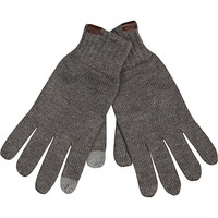 River Island MensDark grey knitted touch screen gloves