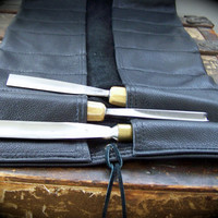 Extra Large Black Leather Tool Roll for Crafters, Woodworkers, Leatherworkers