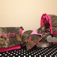 3 Piece Set MOSSY OAK CAMO fabric infant Car Seat Cover and Canopy Cover and Diaper Bag  & Huggy Blanket with Free Monogram