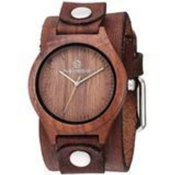 BVSTH260B Nemesis wood case watch with Vintage leather cuff band