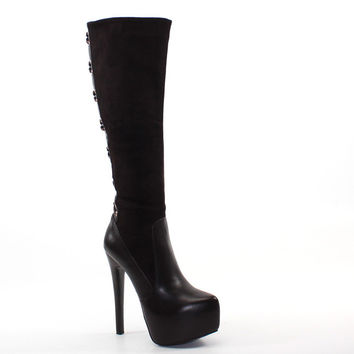 Luichiny Shoes Real Lee High Heel Platform Boots - Chocolate