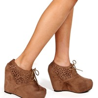 Taupe Laser Cut Out Booties