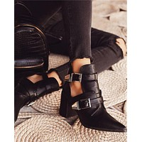 New pointed ladies sexy hollow buckle thick heel short boots