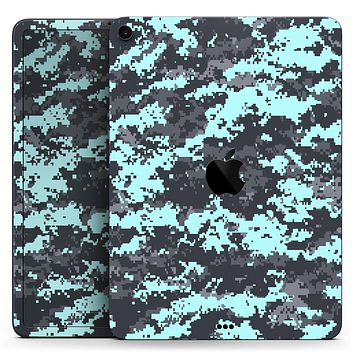 "Light Blue and Gray Digital Camouflage - Full Body Skin Decal for the Apple iPad Pro 12.9"", 11"", 10.5"", 9.7"", Air or Mini (All Models Available)"