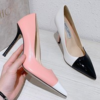Jimmy Choo Popular Women Personality Stitching Color Princess Pointed High Heels Shoes White&Pink