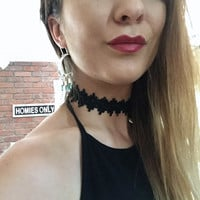 Thick Black Lace Choker Necklace Simple Basic Goth Gothic Victorian 1990s 90s Style Fashion Jewelry Azeetadesigns Azeeta Designs