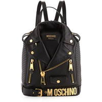 Moschino Lambskin Moto Jacket Backpack