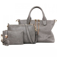 Leather and Zipper Design Tote Bag For Women