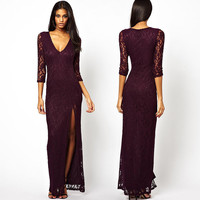 Deep V-Neck Lace Sheer Sleeves Side Slit Bodycon Maxi Dress