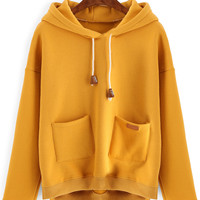 Yellow Double Pocket Dip Hem Drawstring Hoodie