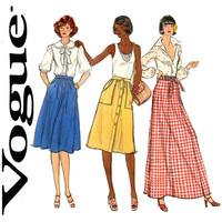 1970s Skirt Pattern Uncut Waist 26 Vogue 9219 Front Button Skirt, Maxi Skirt, A Line Skirt, Dirndl Skirt Womens Vintage Sewing Patterns