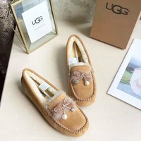 UGG high quality new fashion bow-knot keep warm shoes women Brown