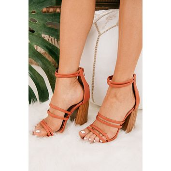 Glamour Girl Strappy Heels (Brick)