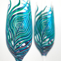 Peacock Feather Champagne Flutes - Set of 2 Personalized Hand Painted Anniversary Flutes