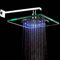 Lightinthebox Ceiling Mount 8 Inch 7 Colors Changing Led Contemporary Shower Faucet Head Without Shower Arm Square Fixed Shower Head Water Flow Powered No Battery Needed Lavatory Bathroom Fixtures Faucet