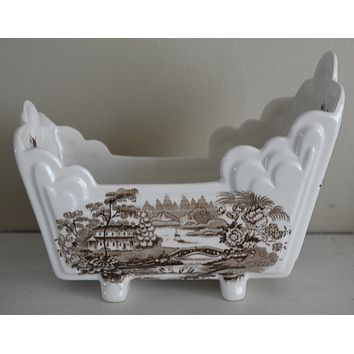 Brown Transferware Tonquin Cracker Cradle Dish / Planter Sailboat Swans Roses Clarice Cliff Staffordshire Vintage