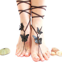 Barefoot sandal, Butterfly Anklet, Black, Steampunk, Bridal, Oriental barefoot sandal, Genuine leather butterfly, Beach Summer Jewelry