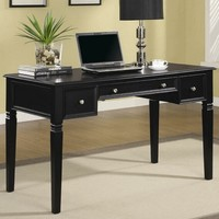 A.M.B. Furniture & Design :: Office Furniture :: Desks :: Black finish wood writing desk with fold down keyboard drawer and drawers
