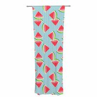 """afe images """"Watermelon Slices Pattern"""" Red Blue Illustration Decorative Sheer Curtain"""