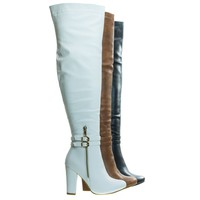 Born1 White by Top Moda, Block Heel Over-The-Knee Dress Boots w Double Buckle