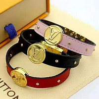 LV Louis Vuitton Newest Fashion Leather Bracelet Hand Catenary Jewelry