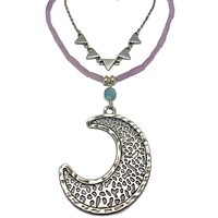 Silver Moon Double Layer Stone & Chain Necklace
