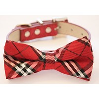 Plaid red and white wedding Dog Bow tie with collar, Chic and Elegant wedding , Wedding dog collar