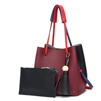Tassel Casual Bucket shoulder & Crossbody Bags With Soft Synthetic Leather Handbag Messenger Bag With Clutch Wallet Purse