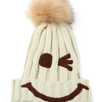 Cream Wink Smiley Pom Beanie