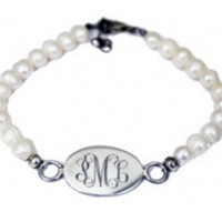 Monogrammed Pearl Bracelet with Sterling Charm   Marley Lilly
