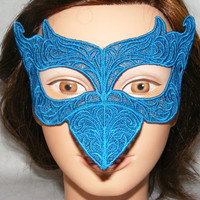 Clearance- Teal blue bird embroidered lace mask