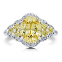 Sterling Silver 925 Oval Cut Canary Cubic Zirconia CZ Cocktail Ring #r539
