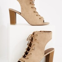 Whipstitch Open-Back Stacked Heel | Heeled Sandals | rue21