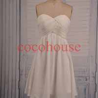 New White Short Hot Prom Dresses Chiffon Bridesmaid Dresses Simple Party Dresses Homecoming Dresses Evening Dresses Wedding Party Dresses