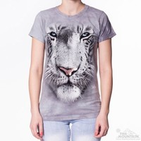 WHITE TIGER FACE Womens T-Shirt Big Zoo Animal Print The Mountain Graphic Tee