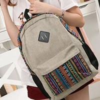 Leisure Folk Style Floral Print Beige Backpack from perfectmall
