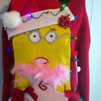 "Small Lite UP Ugly Christmas Sweater  Women  Fun Minions Holiday Sweater "" with lights Never before seen"