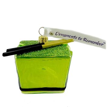 Ornaments To Remember GREEN TAKE-OUT BOX Glass Asian Food Container 25R2TOB005