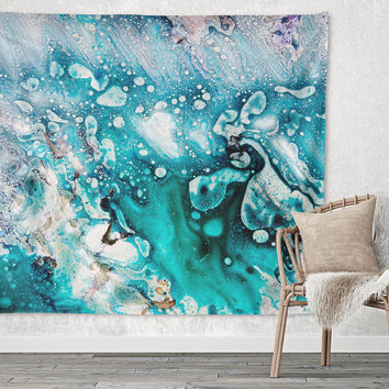 Blue Drops Geote Agate Unique Trendy Boho Wall Art Home Decor Unique Dorm Room Wall Tapestry Artwork