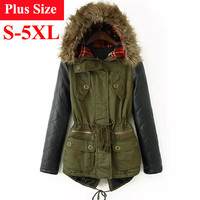 Winter Jacket Women 2016 Down Parka Plus Size Cotton Padded Coat Fur Hooded Outwear PU Leather Sleeve Winter Coat Women